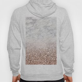Bold ombre rose gold glitter - white marble Hoody