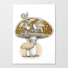Mushroom Aliens inside the Mushroom Canvas Print