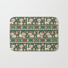 Striped Gingerbread Kitties (Green) Bath Mat
