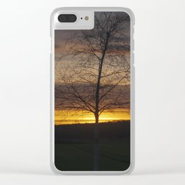 Sunset at the end of town Clear iPhone Case
