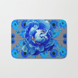 Baby Blue & Charcoal Grey Floral  Abstract Art Bath Mat