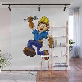 Running man with a wrench Wall Mural