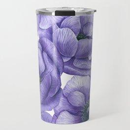 Violet anemone flowers watercolor pattern Travel Mug