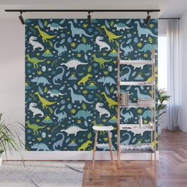 Kawaii Dinosaurs in Blue + Green Wall Mural