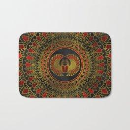 Egyptian Scarab Beetle - Gold and red  metallic Bath Mat