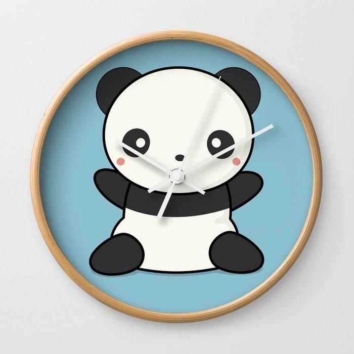 kawai cute hugging panda wall clock by wordsberry society6