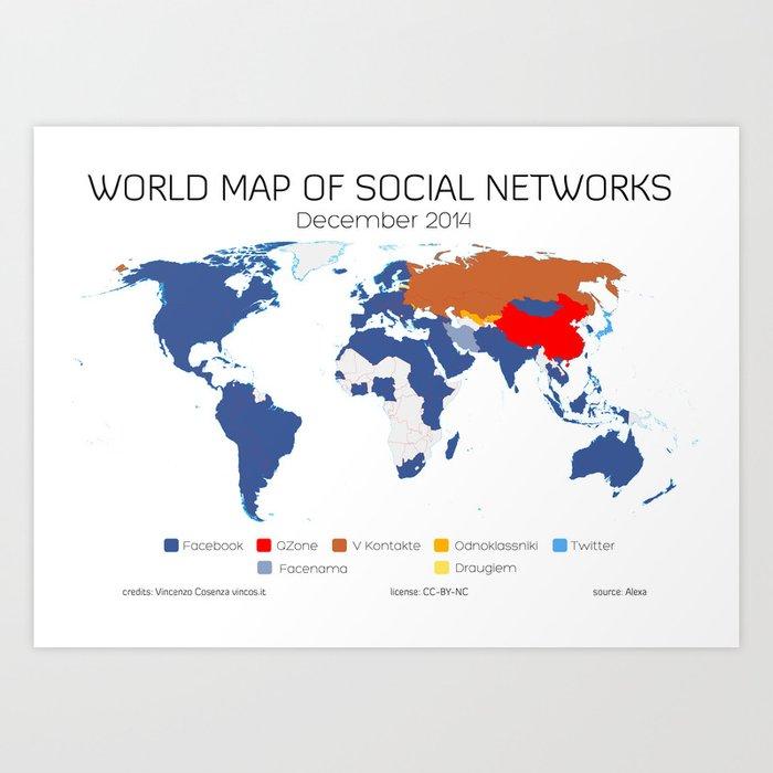 World Map of Social Networks (December 2014) Art Print