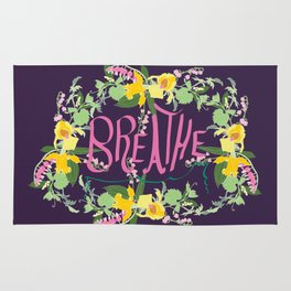 Floral Inspirational Quote Illustrated Print Rug