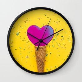 Pink heart on ice cream cone Wall Clock