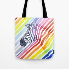 Zebra Rainbow Stripes Colorful Whimsical Animal Tote Bag