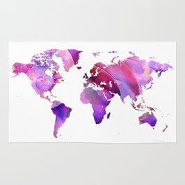 World Map 20 Pink and Purple by Sharon Cummings Rug