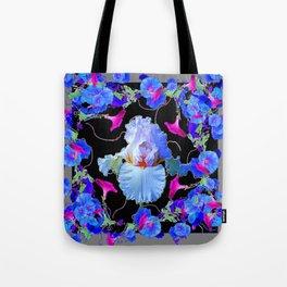 BLUE MORNING GLORIES & WHITE IRIS  SPRING  GARDEN ART Tote Bag