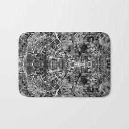 Mirrored Black and White Cityplan Bath Mat