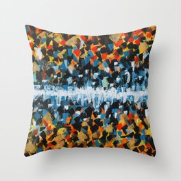 Fire and Ice Abstract Painting- Warm and Cool Colors Throw Pillow