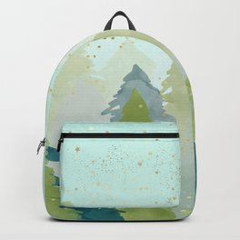 Teal Abstract Gold Glitter Forest Backpack