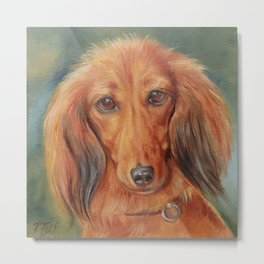 Teckel Dachshund Red Dog Cute Pet Portrait on green background Autumn colours Oil painting on canvas Metal Print