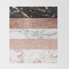 Modern chic color block rose gold marble stripes pattern Throw Blanket
