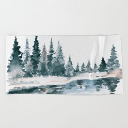 Mountain River Beach Towel