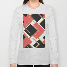 Chic Coral Pink Black and Gold Square Geometric Long Sleeve T-shirt