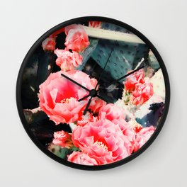 closeup blooming red cactus flower texture background Wall Clock
