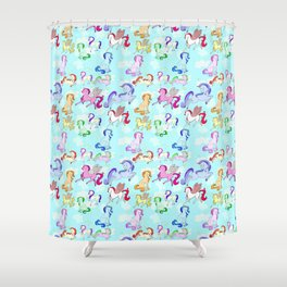 Unicorn repeating pattern colorful on blue Shower Curtain