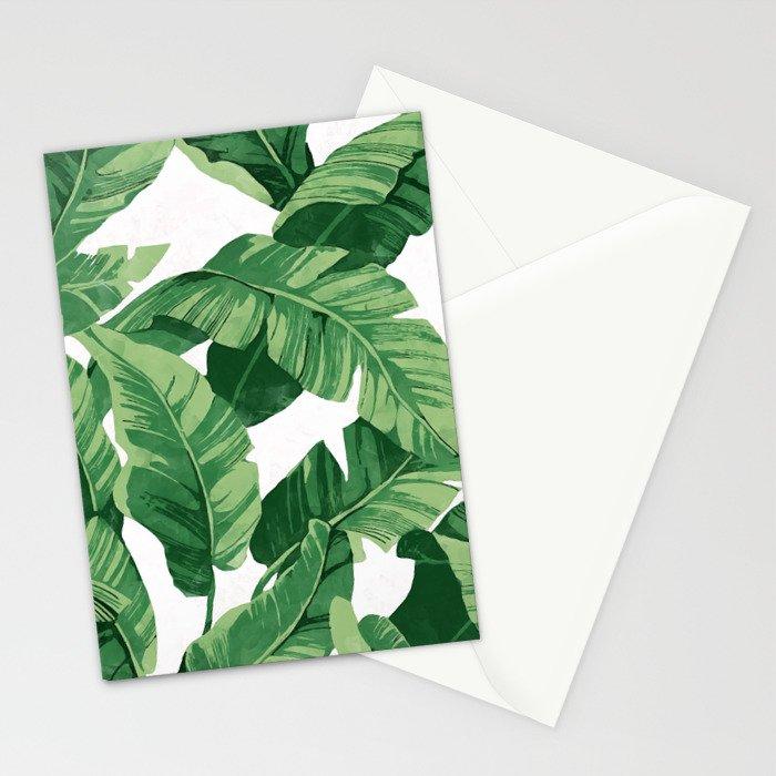 tropical banana leaves iv stationery cards by catyarte society6