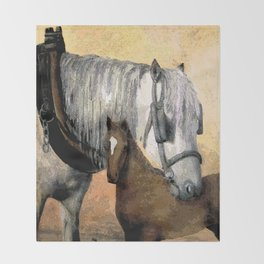 Plow Horse and Foal Throw Blanket