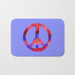 Patriotic Peace Sign Tie Dye Watercolor on Blue Bath Mat