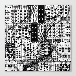 analog synthesizer system - modular black and white Canvas Print