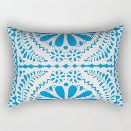 Fiesta de Flores in Party Blue Rectangular Pillow
