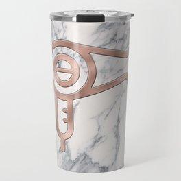 Rose Gold Blow Dryer on Marble Background - Salon Decor Travel Mug