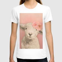 Flower Sheep Girl Portrait, Dusty Flamingo Pink Background T-shirt