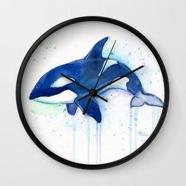 Killer Whale Orca Watercolor Painting Animal Art Wall Clock