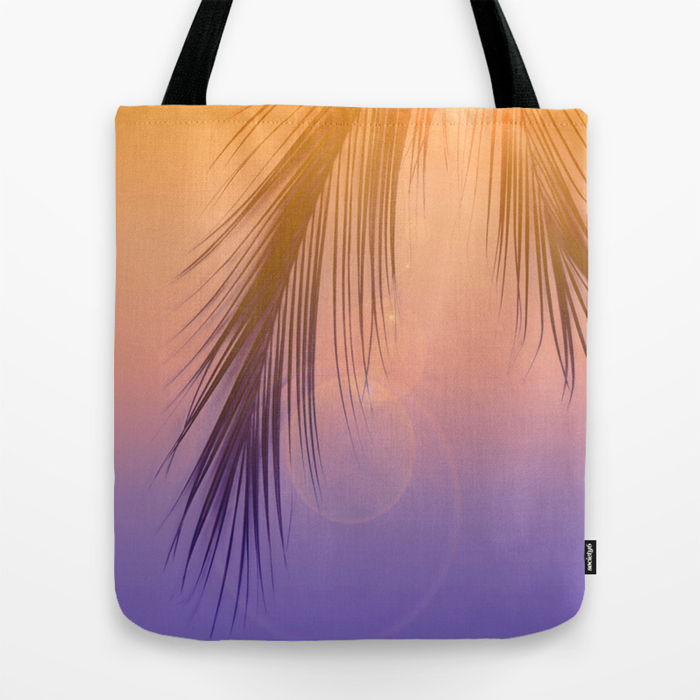 Palm Leaf Silhouette Orange Violet Background #dec… Tote Bag by Pivivikstrm TBG8743732