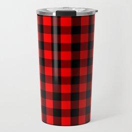 Classic Red and Black Buffalo Check Plaid Tartan Travel Mug
