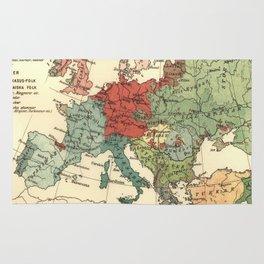 Vintage Linguistic Map of Europe (1907) Rug