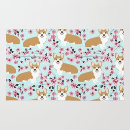 Corgi cherry blossom florals dog must have cute welsh corgis gifts pure breed Rug