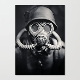 German Solider in a Gas Mask from World War II Canvas Print