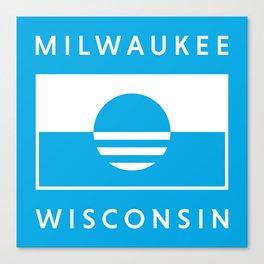 Milwaukee Wisconsin - Cyan - People's Flag of Milwaukee Canvas Print