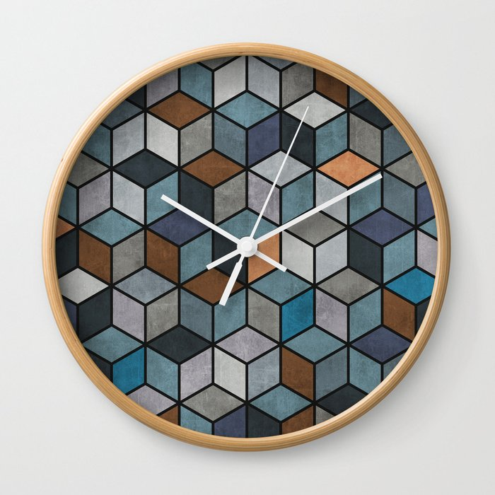 Colorful Hexagon Pattern Blue Grey Brown Wall Clock by