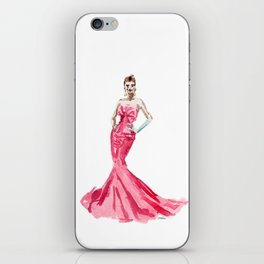 Sabrina / Hepburn Fuschia Pink Red | Fashion Gown Dress iPhone Skin