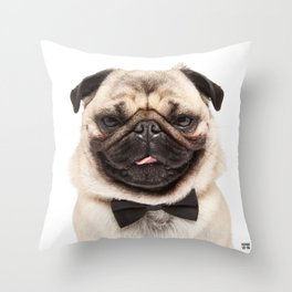 Helmut the Pug - Bow Tie Throw Pillow