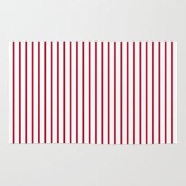 Royal Red Rose Pinstripe on White Rug