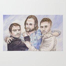 Team Free Will: Misha Collins; Jared Padalecki and Jensen Ackles, watercolor painting Rug