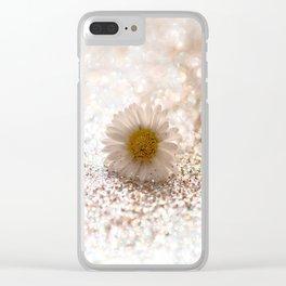 GLITTER & DAISY GOLD Clear iPhone Case