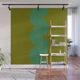 groovy minimalist pattern aqua waves on olive Wall Mural