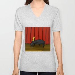 Ducky Pianist   Veronica Nagorny Unisex V-Neck