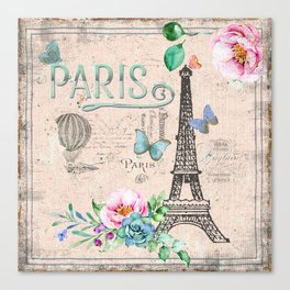Paris - my love - France Nostalgy - pink French Vintage Canvas Print