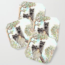 Raccoons in the Forest (color edition) Coaster