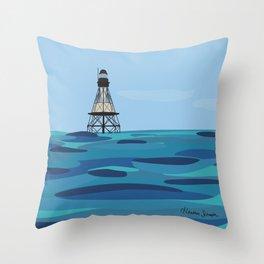 Fowey Rocks Lighthouse Throw Pillow
